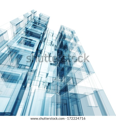Concept building. Architecture design and 3d model my own - stock photo