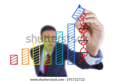 Concept business draw graph bar growth by teamwork above whiteboard white background - stock photo