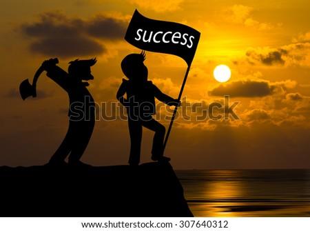 Concept Business skyline,Cartoon Businessman Man hold axe and man hold flag success - stock photo