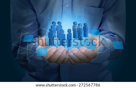 Concept. Businessman working with new modern computer show social network structure - stock photo