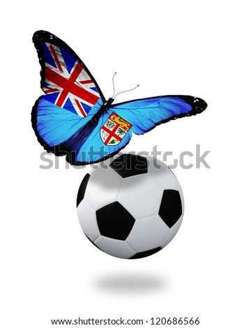 Concept - butterfly with Fiji flag flying near the ball, like football team playing - stock photo