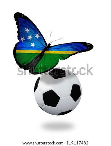 Concept - butterfly with Solomon Islands flag flying near the ball, like football team playing - stock photo
