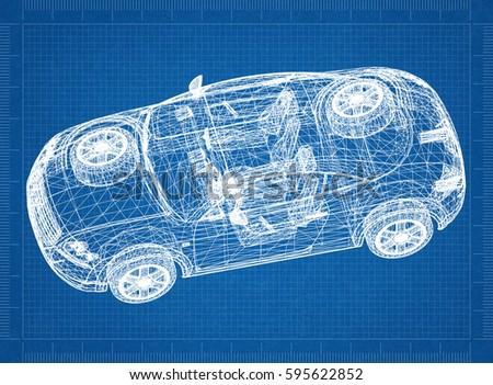Concept car blueprint 3 d perspective stock illustration 595622852 concept car blueprint 3d perspective malvernweather Images
