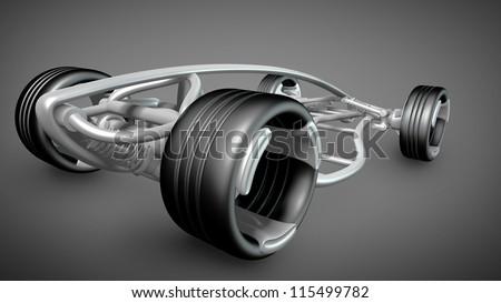 concept car frame. High resolution 3d render - stock photo