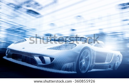 Concept car model in blueprint, wireframe. Speed, technology and ecology - the future of the industry. - stock photo