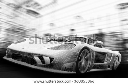 Concept car model in wireframe. Speed, technology and ecology - the future of the industry. - stock photo