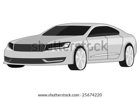 Concept car on the white background
