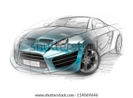 Concept car sketch. Original non-branded car design. - stock photo