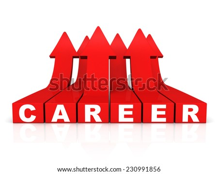 concept career text with growing rise arrows up. 3d render illustration - stock photo