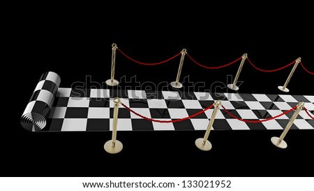 concept. checkered carpet isolated on a black background High resolution 3d render