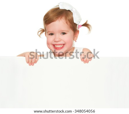 concept child girl with white blank poster banner isolated