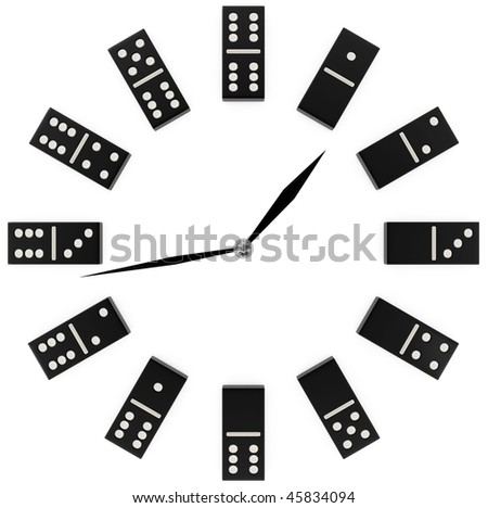 concept clock with black and white domino - 3d illustration - stock photo