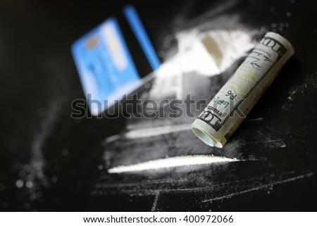 concept cocaine dollar banknote - stock photo