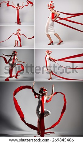 concept collage of photos of  a woman in flying exclusive dress - stock photo