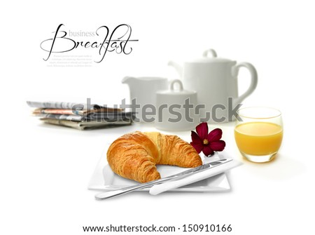 Concept color image depicting a business breakfast. Perfect image for your hotel brochure or business travel designs. Copy space. - stock photo