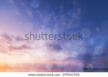 concept color of sunset with flare light and bokeh. - stock photo