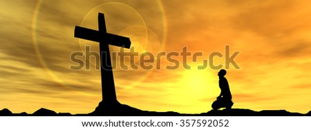 Concept conceptual black cross or religion symbol man silhouette in rocks over a sunset sky with sunlight clouds background, metaphor to God, Christ, Christianity, religious, faith, knee Jesus belief - stock photo