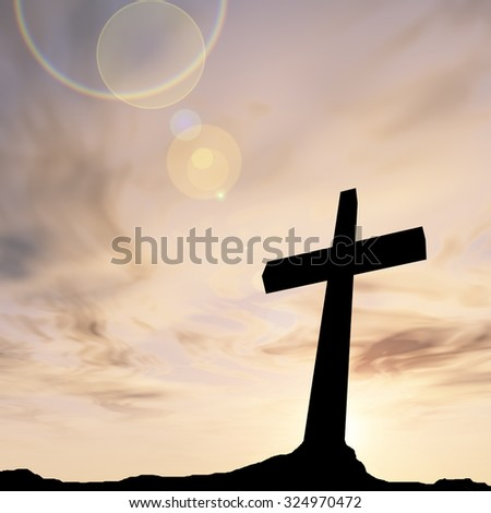 Concept conceptual black cross or religion symbol silhouette in rock landscape over a sunset sunrise sky with sunlight clouds background for God, Christ, Christianity, religious, faith, Jesus belief