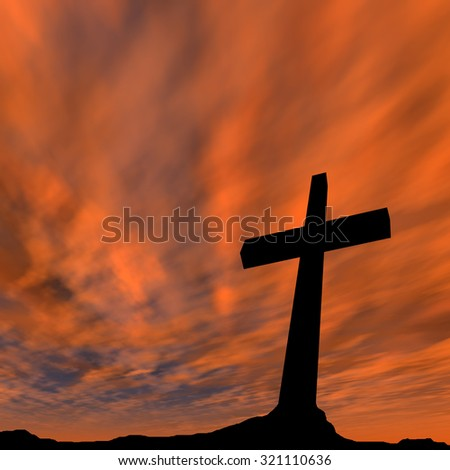 Concept conceptual black cross, religion symbol silhouette in rock landscape over a sunset or sunrise sky with sunlight clouds background for God, Christ, Christianity, religious, faith, Jesus, belief - stock photo