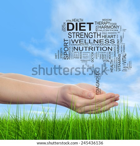 Concept conceptual black text word cloud tagcloud tree in man or woman hand on blue sky grass background, metaphor to health, nutrition, silhouette, diet, body, energy, medical, sport, heart science - stock photo