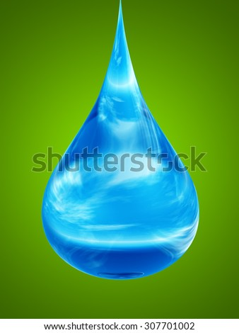 Concept conceptual clean cold blue rain water liquid drop falling, green gradient  background, metaphor to nature, wet, purity, splash, fresh, spring, summer, pure, freshness, drink, eco environment - stock photo