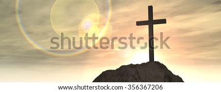 Concept conceptual cross religion symbol shape over sunset sky with clouds background banner metaphor to God, Christ, Christianity, lige, religious, faith, holy, spiritual, Jesus, belief resurection - stock photo