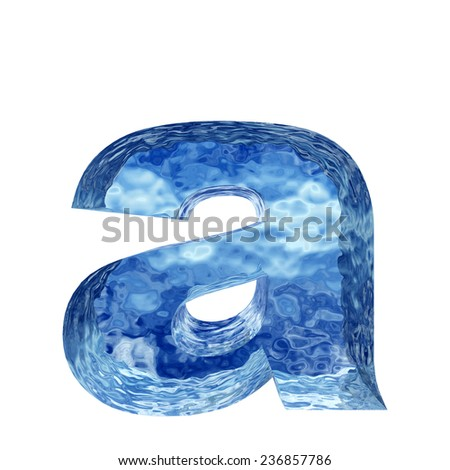 Concept conceptual 3D blue water or ice a font, part of collection isolated on white background, metaphor to winter, fresh, frost, liquid, Christmas, eco, ecology, cold, drink or cool - stock photo