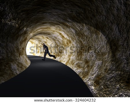 Concept conceptual 3D business man, dark road tunnel with bright light at the end background metaphor to hope, freedom, exit, life, faith, motion, speed, dream, success, vision, future, fear salvation - stock photo