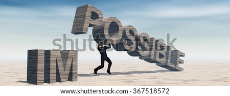 Concept conceptual 3D business man lifting an abstract stone impossible text on sky background metaphor to success, career, work, job, achievement, development, growth, progress, vision, possible - stock photo