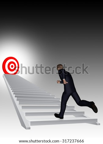 Concept conceptual 3D business man running, climbing stair on black background with a red target metaphor to success, career, work, job, achievement, development, growth, progress vision, future faith - stock photo
