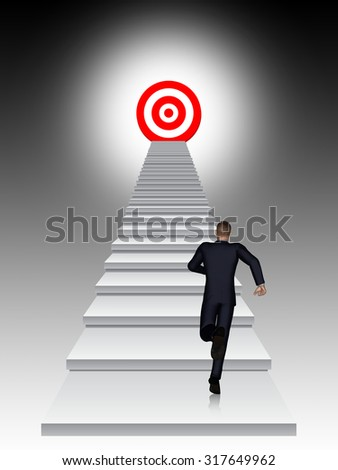 Concept conceptual 3D business man running, climbing stair on black background with a red target metaphor to success, career, work, job, achievement, development, growth, progress, vision future faith - stock photo