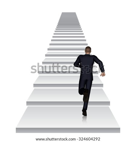 Concept conceptual 3D business man running or climbing white stair isolated on white background metaphor to success, career, work, job, achievement, development, growth, progress, vision, future faith - stock photo