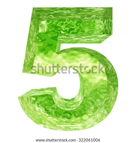 Concept conceptual 5 3D green water, ice font part of set or collection isolated on white background for winter  metaphor to winter, fresh, frost, liquid, clean, eco, ecology, drink, ice, freeze cool - stock photo