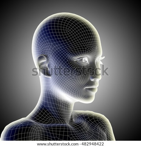 Concept conceptual 3D illustration wireframe young human female or woman face head glowing on gray background metaphor to technology, cyborg, digital, virtual, avatar, model, science, fiction, future