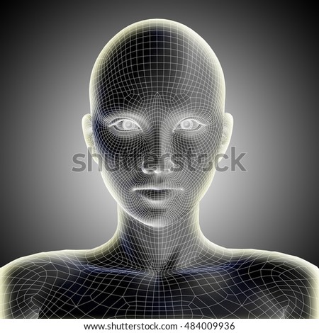 Concept conceptual 3D illustration wireframe young human female, woman face or head glowing on gray background metaphor to technology, cyborg, digital, virtual, avatar, model, science, fiction, future