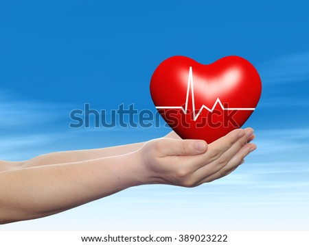 Concept conceptual 3D red human heart sign or symbol held in human man or woman hand, blue sky background metaphor to health, care, medicine, protect, life, medical, pulse, healthcare cardiology