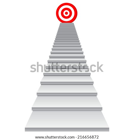 Concept conceptual 3d stair climbing to leader, chief, promotion on top red target isolated on white background, for career, business, success, achievement, winner, goal, step, rise or victory - stock photo