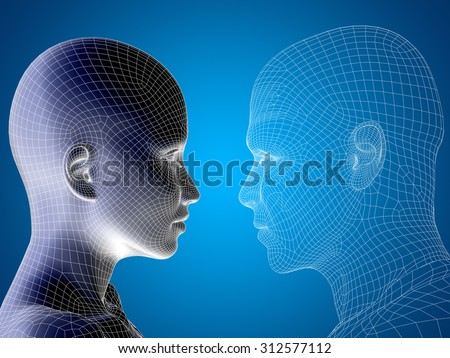 Concept, conceptual 3D wireframe, mesh human male and female head on blue gradient background metaphor for technology, cyborg, digital, virtual, avatar, model, science, fiction, future, mesh abstract - stock photo