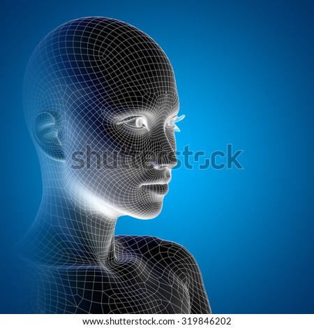 Concept conceptual 3D wireframe young human female or woman face or head on blue background  metaphor for technology, cyborg, digital, virtual, avatar, model, science, fiction, future, mesh abstract