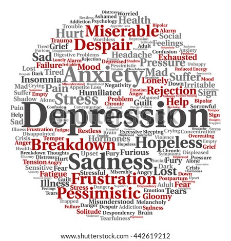 Concept conceptual depression or mental emotional disorder round abstract word cloud isolated on background metaphor to anxiety, sadness, negative, sad, problem, despair, unhappy, frustration symptom - stock photo