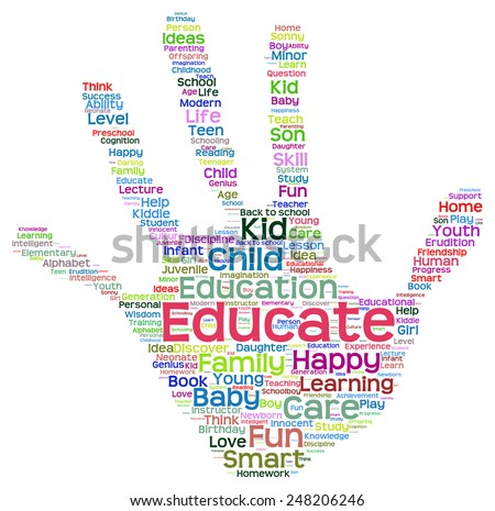 Concept conceptual education abstract hand print word cloud, metaphor to child, family, school, life, learn, knowledge, home, study, teach, educational, achievement, childhood, teen handprint - stock photo