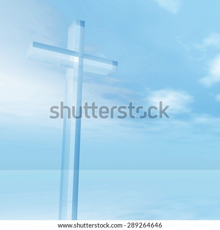 Concept conceptual glass cross or religion symbol silhouette on water landscape over a blue sky with sunlight clouds background for God, Christ, Christianity, religious, faith, Jesus or belief - stock photo