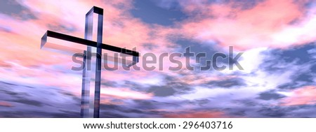 Concept conceptual glass cross or religion symbol silhouette on water landscape over a sunset or sunrise sky with sunlight clouds background banner - stock photo