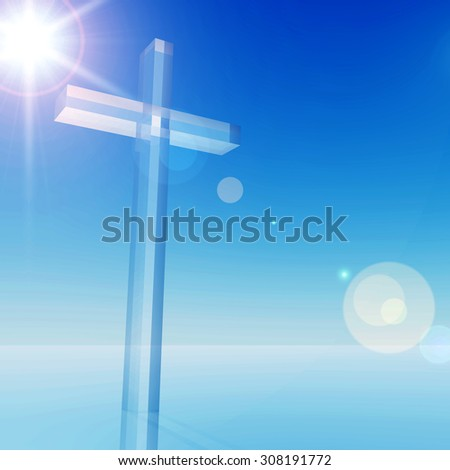 Concept conceptual glass cross, religion symbol silhouette on water landscape over a blue sky with sunlight clouds background for religion, faith, holiday, God, religious, Jesus belief designs - stock photo
