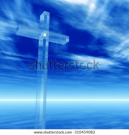 Concept conceptual glass cross, religion symbol silhouette on water landscape over a blue sky with sunlight clouds background banner for religion, faith, holiday, God, religious, Jesus belief designs - stock photo