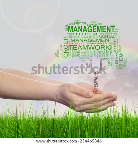 Concept conceptual green text word cloud on man hand, tagcloud on rainbow sky background and grass metaphor to business, team, teamwork, management, effective, success, communication, company or group - stock photo