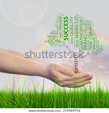 Concept conceptual green tree word cloud tagcloud in man or woman hand on rainbow sky grass background metaphor to business, trend, media, focus, market, value, product, advertising, sale or corporate - stock photo