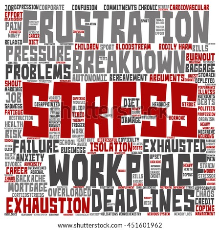 Concept conceptual mental stress at workplace or job square word cloud isolated on background, metaphor to health, work, depression, problem, exhaustion, breakdown, deadlines, risk, pressure - stock photo
