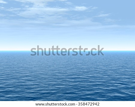 Concept conceptual sea or ocean calm water waves, sky cloudscape exotic or paradise background, metaphor to nature, peace, summer, travel, tropical, tourism, environment, vacation or holiday seascape