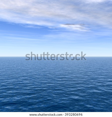 Concept conceptual sea or ocean calm water waves, sky cloudscape exotic or paradise background, metaphor to nature, peace, summer, travel, tropical, tourism, environment, vacation or holiday seascape - stock photo